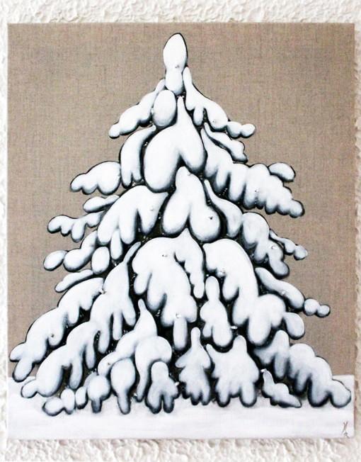 Arbre en neige couleur campagne